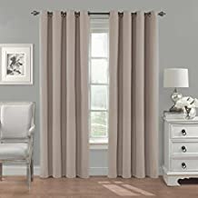 "Eclipse Nadya Solid Blackout Window Curtain Panel, 95"", Linen"