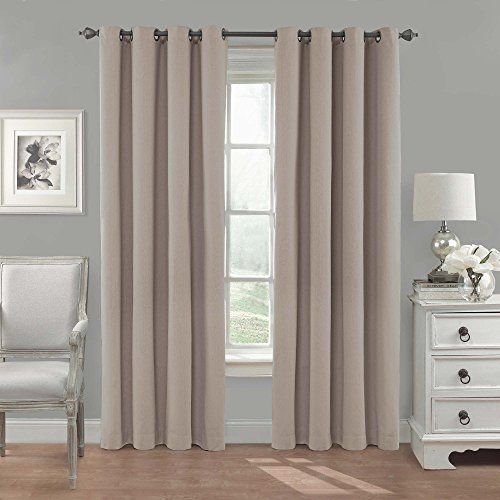 Eclipse 14380052084LIN Nadya Solid 52-Inch by 84-Inch Blackout Single Window Curtain Panel, Linen (Curtains Neutral)