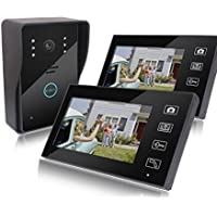 AmgBo 7 X2 LCD Screen Display Doorbell Metal Camera Video Door Phone Recording Peep Hole Viewer Indoor Monitor + Outdoor Camera Night Vision Wireless Home Security