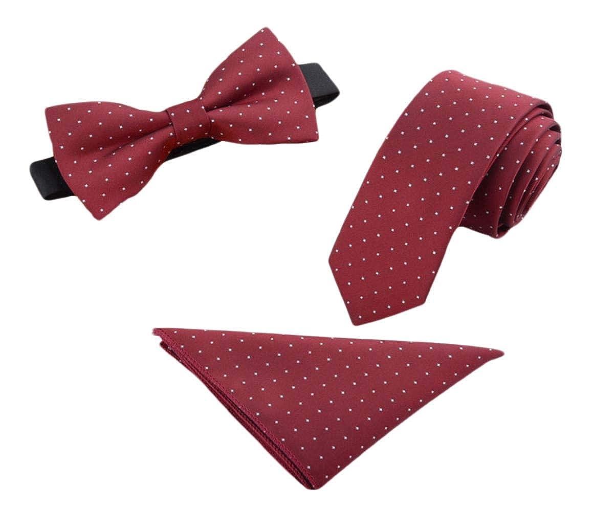 AngelSpace Men Bowtie Handkerchief Printing Beautiful 3 Pieces Striped Neck Ties