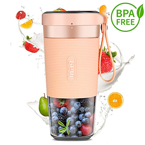 Portable Blender For Juice, Shakes and Smoothies, Cordless Personal Size Blenders With USB Rechargeable, SUS 301 Stainless Steel Blade, BPA Free and IP68 Waterproof, Juicer Mixer Cup For Home, Office, Sports, Travel, Outdoors, Low DB , 300ml, 50W, PINK
