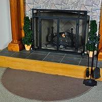 Woodeze Home Indoor Outdoor Fireplace Wood Stove 5' Half Round Brown Guardian Rug