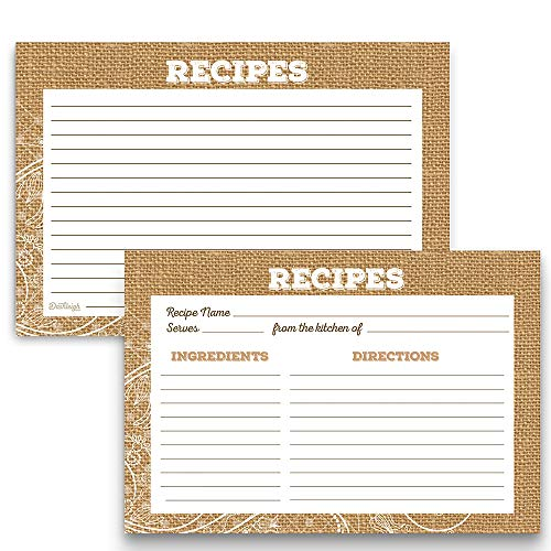 Burlap and Lace Rustic Recipe Cards, 48 Cards, 4x6 inches, Water-Resistant