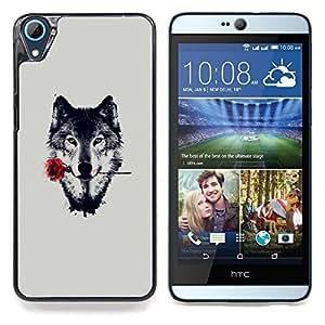 "Qstar Arte & diseño plástico duro Fundas Cover Cubre Hard Case Cover para HTC Desire 826 (Lobo con Rose"")"