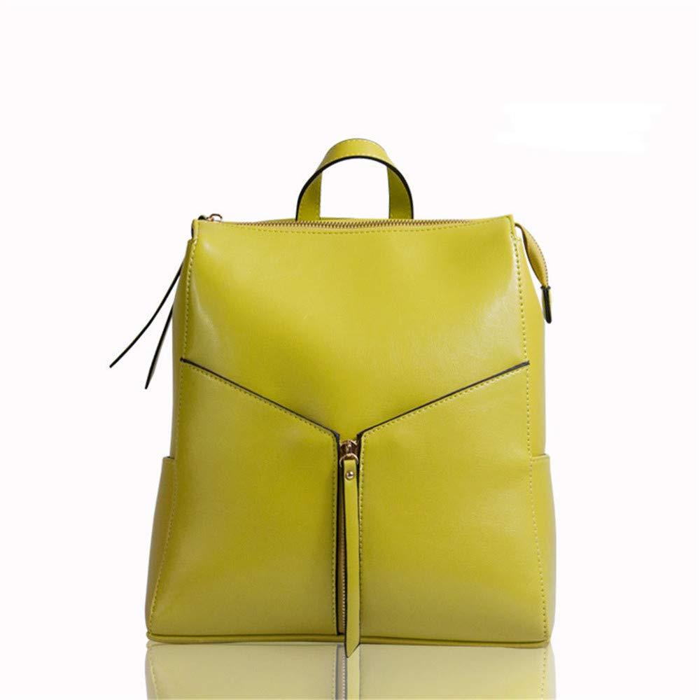レディースリュック ファッション女性バックパック財布本物のレザーカジュアルスクールショルダーバッグアウトドアトラベルリュックサックレディース&ガールズファッション (色 : 黄) B07NVHVTP9 黄