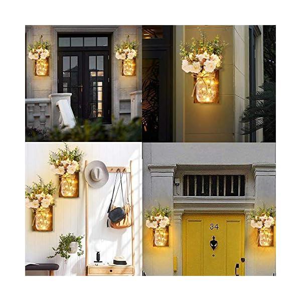 MMTX Applique da Parete Rustica, Mason Jar Sconce Decorazione da Parete con luci LED Strip Design per Giardino di casa Decorazioni Natalizie (2pcs) 5 spesavip