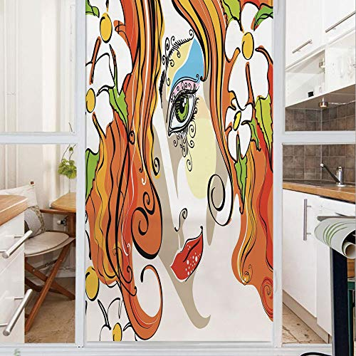 Decorative Window Film,No Glue Frosted Privacy Film,Stained Glass Door Film,Portrait of the Young Woman with Red Hair and Blooming Flowers and Make Up Art,for Home & Office,23.6In. by 47.2In Multicolo