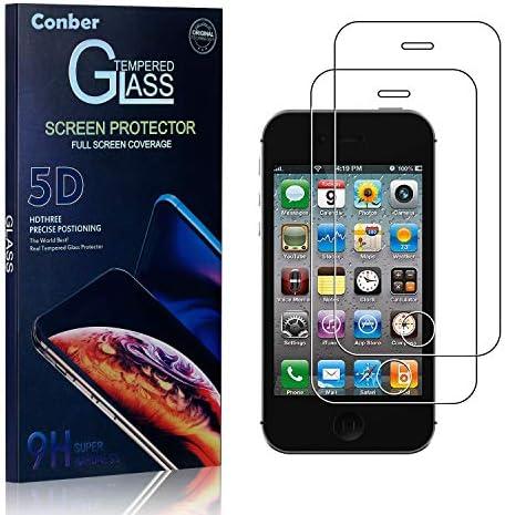 Conber Panzerglasfolie für iPhone 4 / iPhone 4s, [2 Stück] 9H gehärtes Glas, Kratzfest, Blasenfrei, Hülle Freundllich Hochwertiger Panzerglas Schutzfolie für iPhone 4 / iPhone 4s