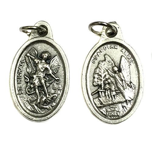 Archangel Saint St. Michael and Guardian Angel Protection Italian Medal Pendant Charm Silver Tone Made in Italy