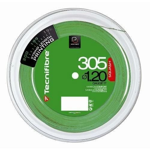 Tecnifibre 305–Cordaje para raquetas de squash, color verde 200M carrete