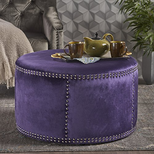 Christopher Knight Home 302207 Jesper Studded Plum Velvet Ottoman,