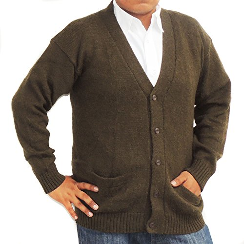 Jersey V-neck Cardigan - CELITAS DESIGN Alpaca Cardigan Golf Sweater Jersey V neck buttons and Pockets made in Peru Brown M