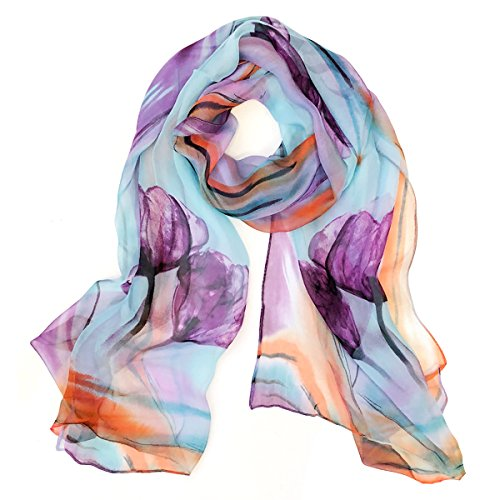 Wrapables Lightweight Sheer Silky Feeling Chiffon Scarf, Sky Blue Floral (Long Scarf Sheer)