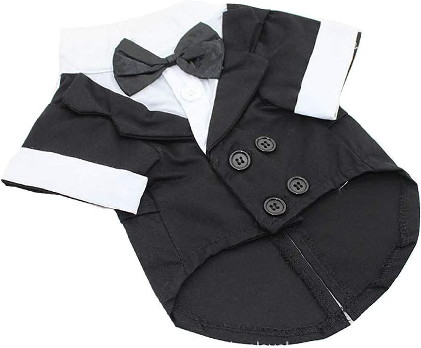 Black, L Abaimao Pet Apparel Dog Clothes Suit-Pet Puppy Dog Clothes Costume Tuxedo Wedding Suit