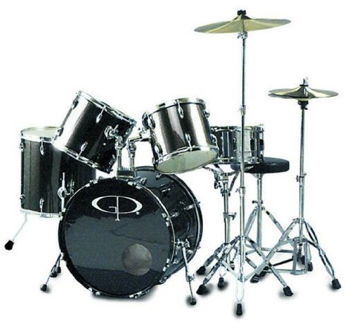 GP Percussion GP200SV 5 Piece Performer Drum Set - Metallic Siver by GP Percussion