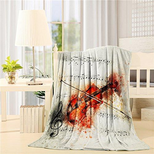 Flannel Fleece Blanket Art of Violin Score Lightweight Cozy Solid Blankets for Living Room Bedroom Bathroom Dorm Decor 59x79 inch by Lively Casa Black Score Full Zip Fleece