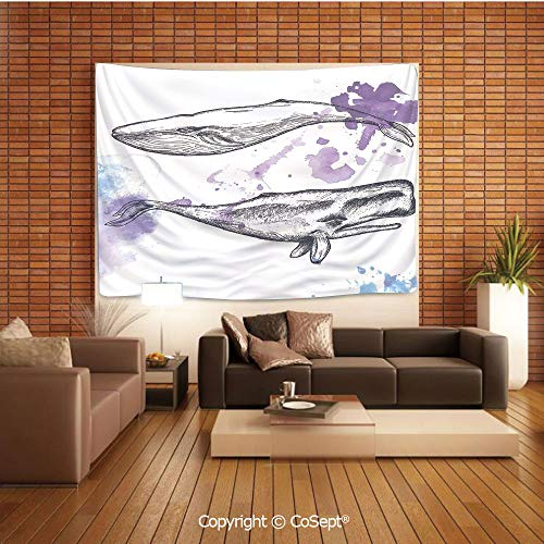 PUTIEN Polyester Fabric Tapestry,Grunge Ocean Mammals with Paintbrush Effects and Brushstroke Murky Artwork,Tapestry Art Print Tapestry for RoomLavender Grey Blue