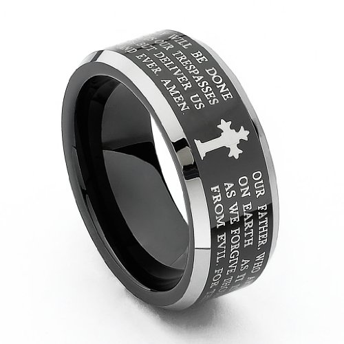 8MM-Wellingsale-LUXE-Series-Comfort-Fit-Wedding-Band-Ring-with-Black-PVD-Coating-Laser-Etched-Engraved-Tribal-Celtic-Infinity-Braid-Pattern-Diamond-Beveled-Edges-and-Gothic-Cross-in-Brushed-and-Polish
