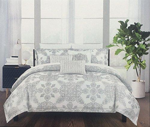 Tahari King Duvet Cover Set 3 Piece Cotton Metallic Silver on White Floral Medallion Bohemian Pattern Bedding (Barn Pottery Pillow Covers)