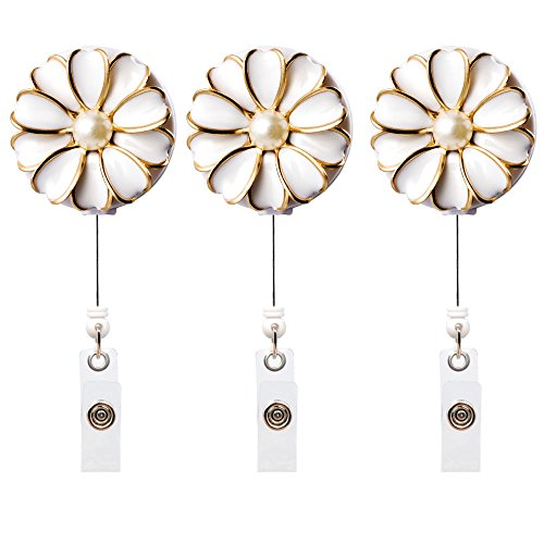 Qinsuee Retractable Badge Holder, ID Badge Reel with Pearl, 3 Pack (White) (Daisy Badge Clip)