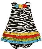 Bonnie Jean Baby Girls 3M-24M Multicolor Ruffle Border Zebra Stripe Knit Dress (24 Months, Black/White)