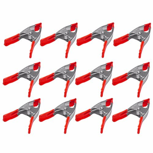 Wideskall 6'' inch Metal Spring Clamps w/Red Rubber Tips Clips (Pack of 12) by Wideskall