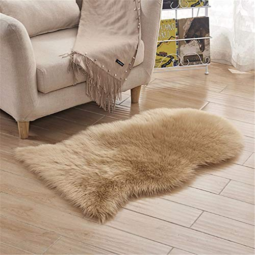 Soft Faux Sheepskin Fur Chair Couch Cover Area Rug for Bedroom Floor Sofa Living Room 2ftX3ft Camel ()