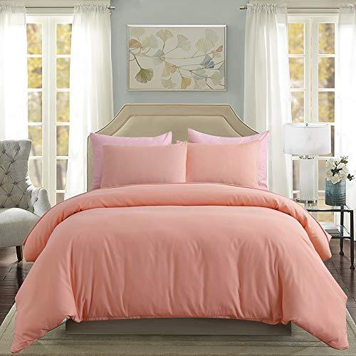 3 Pieces Peach Duvet Cover Set Peach Girls Bedding Sets Queen(90