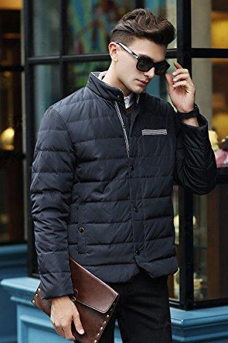 Men's Stand Medium Slim Black Short Up Zip Collar Weight Yeokou Fit Down Coat qOZxZd