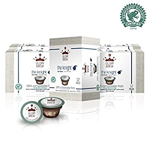 GLORYBREW - The Knight - 72 count 100% Compostable Coffee Pods for Keurig K-Cup Coffee Brewers - Rainforest Alliance certified – Dark Roast | Better than Recyclable and Biodegradable Coffee Pods