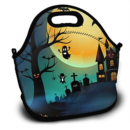 Insulated Neoprene Large Lunch Bag Tote - Washable Reusable Thermal Lunch Tote/Lunch Box/Bag Handbag For Women,Men,Kids,Adults For School Work Office and More, Halloween Night Party