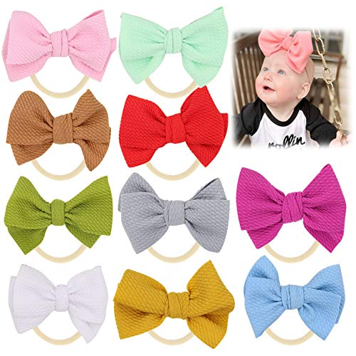Baby Girl Headbands Bows flowers,10 Pack Hair Accessories for Newborn Infant Toddler Gift by FANCY CLOUDS (big bows)]()