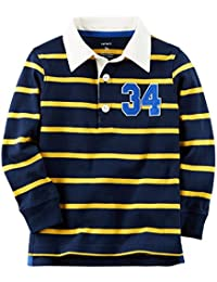 Carter's Boy's Long-Sleeve Rugby Striped Polo Shirt; Navy & Yellow (18M)