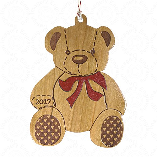 Christmas Tree Ornament - Wooden Teddy Bear Inlaid Red Bow Dated 2017 (Tree Bear Teddy Christmas Ornament)