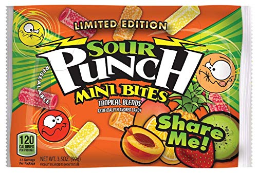 Sour Punch Bites, Tropical Fruit Flavors, 3.5oz Bag (12 Pack), Soft & Chewy Peach, Mango, Pineapple, Orange Kiwi & Strawberry Candy Mix