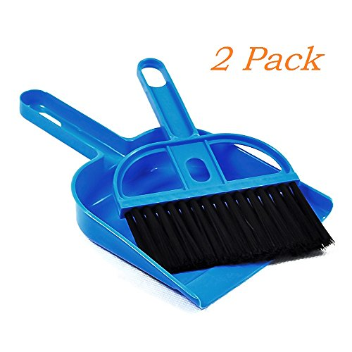 MYSBIKER Mini Dustpan and Broom Set,Cage Cleaner for Reptile, Hedgehog, Hamsters,Degus,Chinchilla,Guinea Pig,Rabbits and Other Small Animals,Cleaning Tool Set for Animal Waste (2, (Clean Reptile Cage)