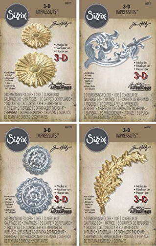 Tim Holtz 3-D Impresslits Embossing Folders - Burst, Laurel, Medallion and Flourish - 4 item bundle by Tim Holtz