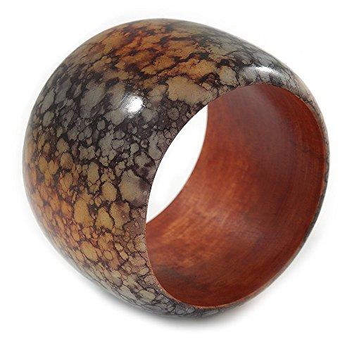 Avalaya Chunky Wide Black/Orange Marble Effect Wood Bangle Bracelet - 19cm L ()