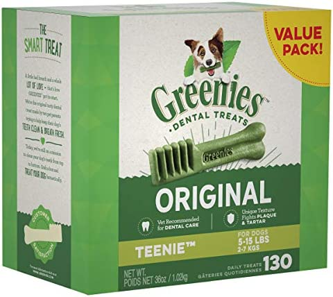 GREENIES Original Teenie Dental Dog Treat, 1kg (130 treats)