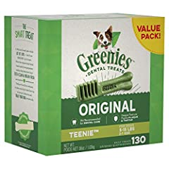 One GREENIES Original Dental Treat a day is all it takes for clean teeth, fresh breath and a happy dog. Your dog can't wait to sink their teeth into these delicious, original-flavor dental dog chews because they feature a delightfully chewy t...