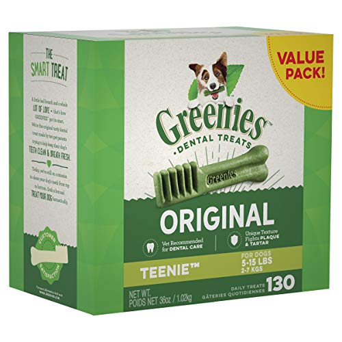 GREENIES Original TEENIE Natural Dental Dog Treats, 36 oz. Pack (130 - Tub Dental Treat Chews