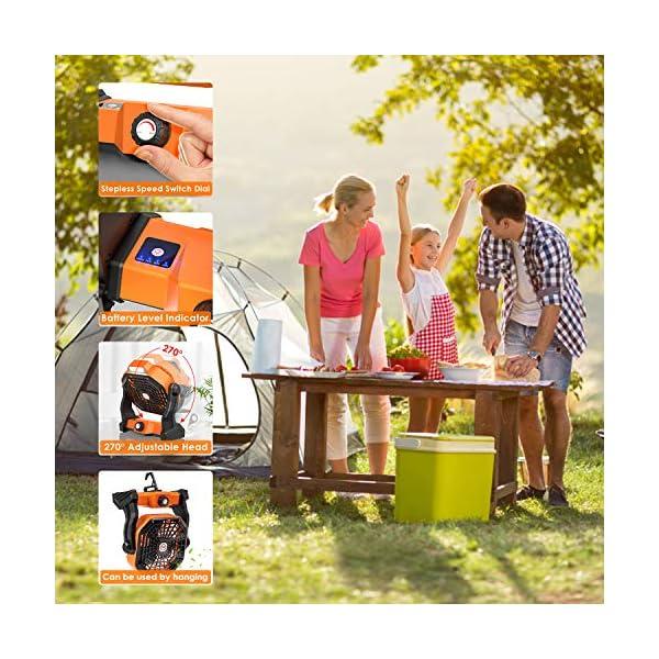 51EqTXX2FeL Camping Ventilator Lureshine Tischventilator mit Led Licht Batterie USB Ventilator Leise Turbo ventilator Campinglüfter…
