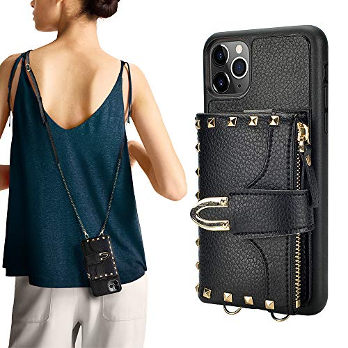 iPhone 11 Pro Max Wallet Case, ZVE iPhone 11 Pro Max Case with Credit Card Holder Slot Crossbody Wallet Case Purse Wrist Strap Protective Case Cover for Apple iPhone 11 Pro Max, 6.5 inch - Black
