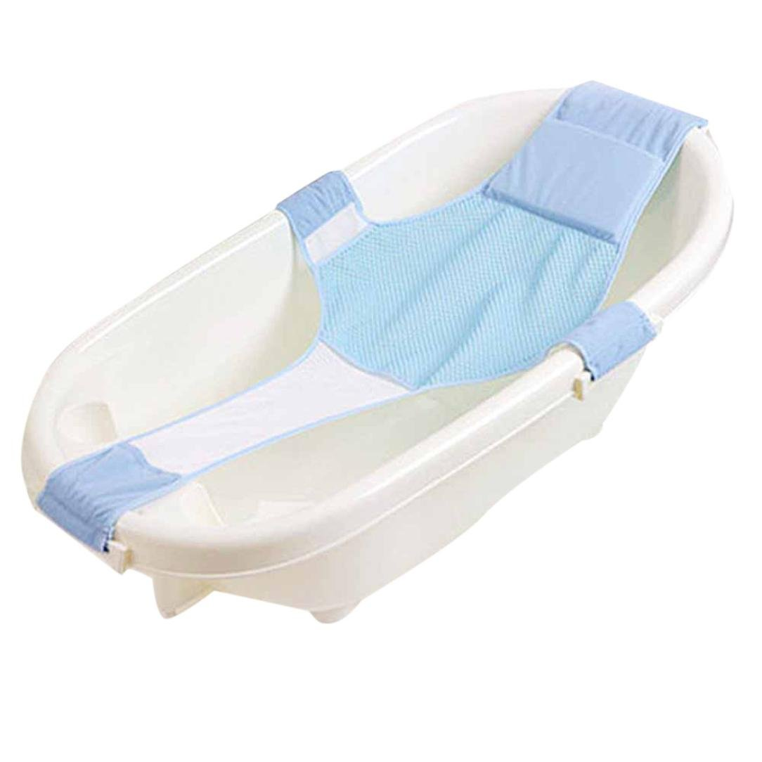 Baby Bath Seat Non-Slip Newborn Baby Bathtub Seat, Adjustable Versatile Newborn Baby Bath Seat Support Net Bathtub Sling Shower Mesh Bathing Cradle Rings for Tub, Keep Baby Safe (Light Blue) Y56