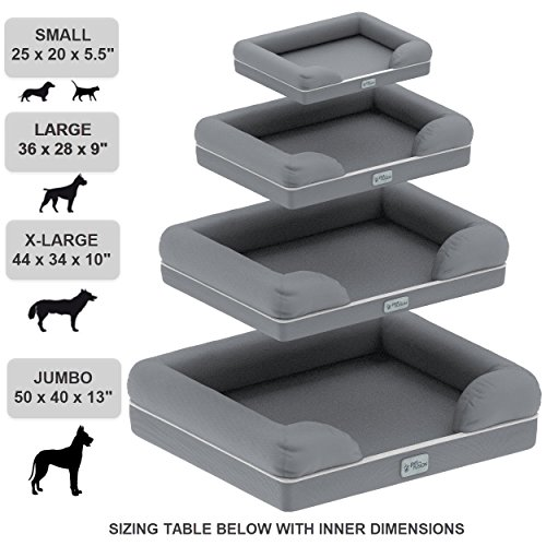 PetFusion-Ultimate-Jumbo-XX-Large-WATERPROOF-Memory-Foam-Dog-Bed-50-x-40-x-13-gray-Solid-6-foam-Replacement-covers-matching-blankets-also-available
