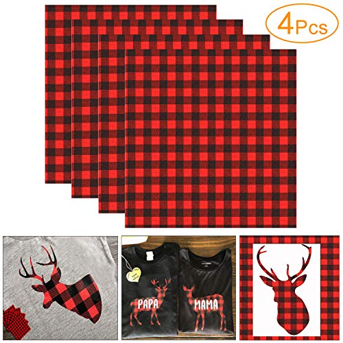 4 Sheets 12×12 Inch Cloth Fabric Iron-on Buffalo Plaid Sheet, Classic Plaid Adhesive Thermal Transfer Heat Transfer Cloth Sheets
