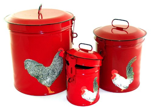Vintage Country Canister Set ~Kitchen Storage Canisters ~ Decorative Containers E3 ~ French Country Red Enamel with Decoupage Roosters