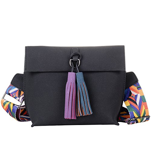 Guitar Straps Choose Color - Women's Nubuck Medium Crossbody Shoulder Bag Handbags with Colorful Tassel Black
