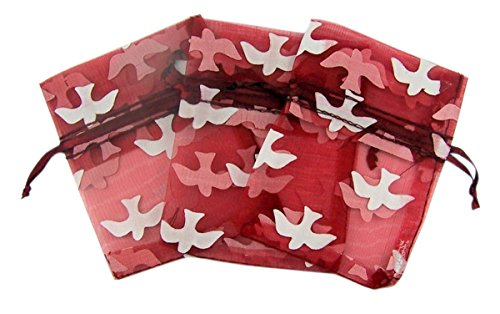 Red Confirmation Organza Rosary Gift Bags with Holy Dove Design, 4 Inch (50) for $<!--$19.53-->
