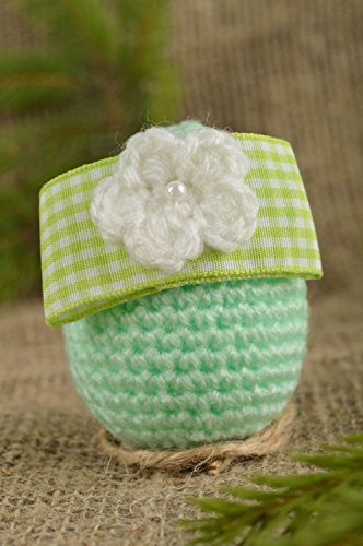 Handmade Easter Egg Decorative use only Mint Crocheted Egg with a Flower